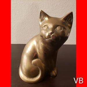 Vintage Brass Cat Decor (See Measurements).